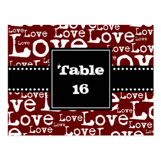 Love Text Table Number Cards in Merlot Postcard