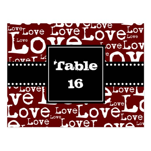 Love Text Table Number Cards in Merlot Post Card