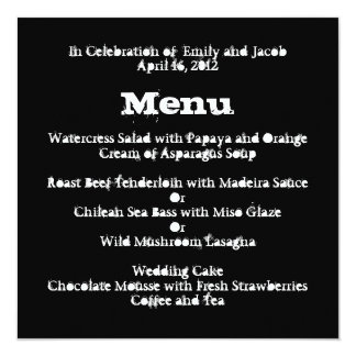 Love Text Wedding Menu in Merlot Personalized Announcement