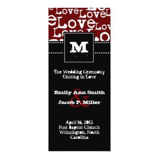 "Love Text Wedding Program in Merlot 4"" X 9.25"" Invitation Card"
