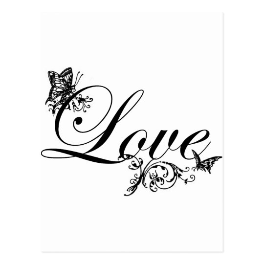 Love Text with Butterflies Custom Postcard