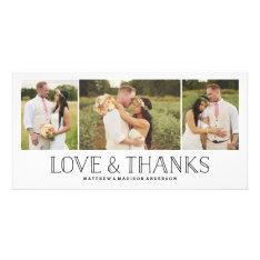 Love & Thanks Boho | Wedding Thank You Photo Card at Zazzle