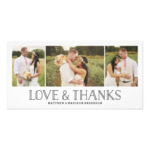 Love & Thanks Boho   Wedding Thank You Photo Card