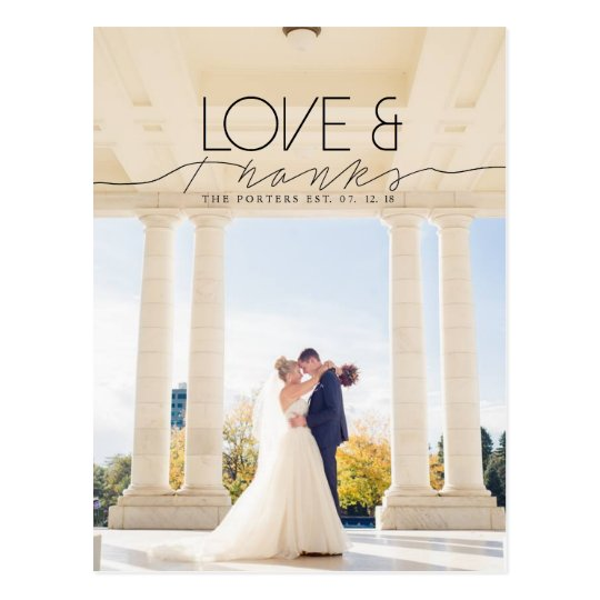 Love & Thanks | Chic and Formal Thank You Photo Postcard