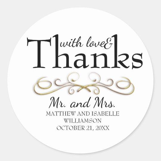 Love & Thanks Gold Flourish Wedding Envelope Seals