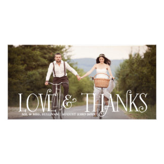 Love & Thanks Retro Script Wedding Thank You Card