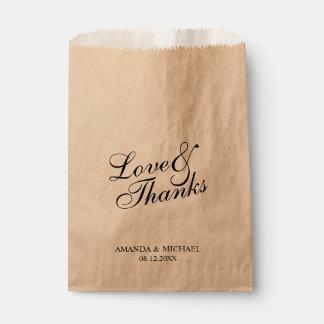 'Love & Thanks' Rustic Wedding Favor Favour Bags