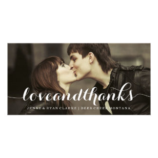 LOVE & THANKS SCRIPT | WEDDING THANK YOU PHOTO PICTURE CARD