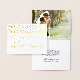 Love & Thanks | Wedding Photo Gold Foil Thank You Foil Card