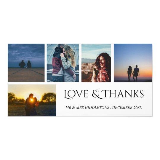 Love & Thanks Wedding Script Five Photo Collage