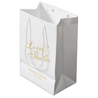 'Love & Thanks' White & Gold Elegant Wedding Favor Medium Gift Bag