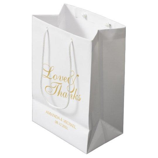 'Love & Thanks' White & Gold Elegant Wedding