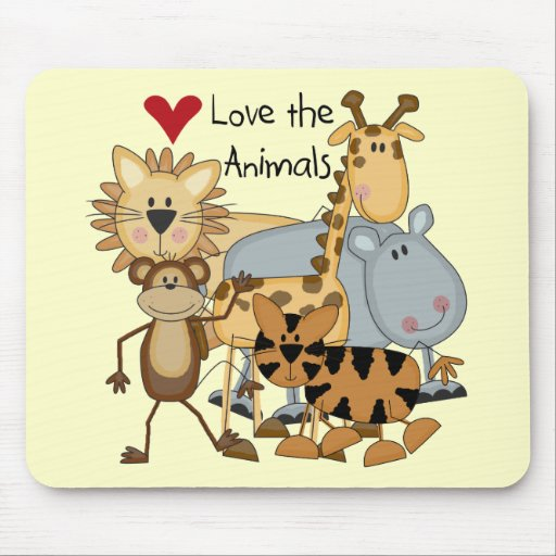 Love the Animals Tshirts and Gifts Mousepad