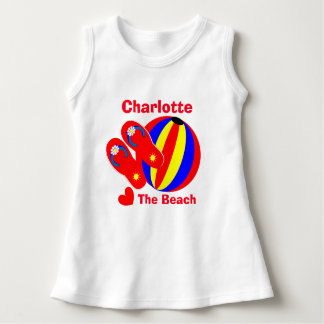 Love The Beach Summer Fun  Kids Personalized Name Dress