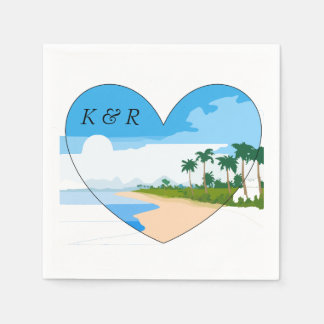 Love the Beach with Heart and Monograms Disposable Serviette