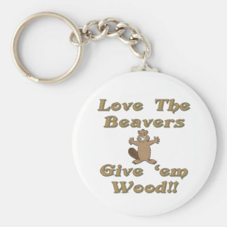 Love The Beavers Give Em Wood Key Ring