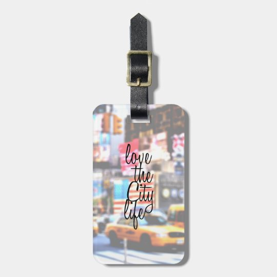 """Love the City Life"" Typography on Cityscape Luggage"