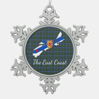 Love The East Coast Heart N.S tartan tree ornament