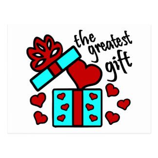 Love, The Greatest Gift With Gift Box And Hearts Postcard