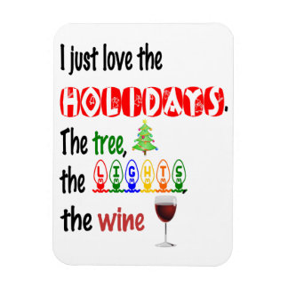 Love The Holidays, Tree, Lights and Wine Magnet