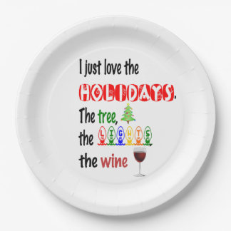Love The Holidays, Tree, Lights and Wine Paper Plate