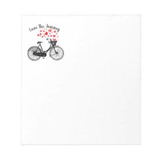 Love the Journey Inspirational Vintage Bike hearts Notepad