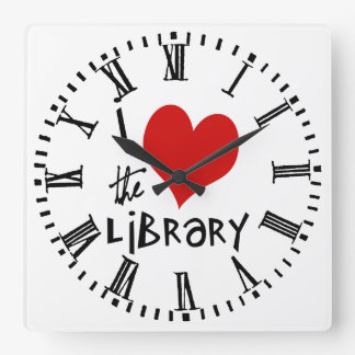 Love the Library Square Wall Clock
