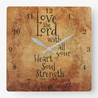"""Love the Lord"" Scripture Matthew 22, Vintage Square Wall Clock"