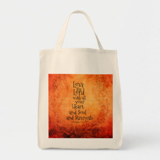 """Love the Lord"" Scripture Matthew 22, Vintage Tote Bag"