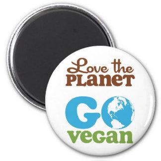 Love the Planet Go Vegan 6 Cm Round Magnet