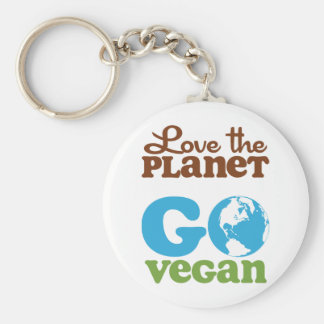 Love the Planet Go Vegan Basic Round Button Key Ring