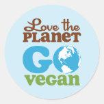 Love the Planet Go Vegan Round Sticker