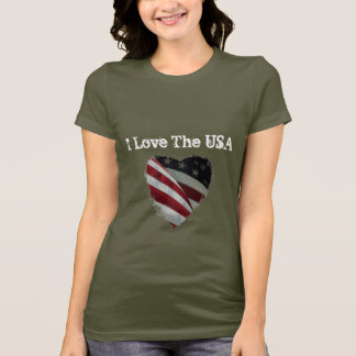 Love the USA, American Heart Flag T-Shirt