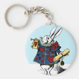 Love the White Rabbit Alice in Wonderland Basic Round Button Key Ring