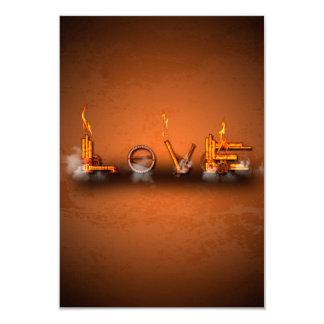 Love, the word in a machine style 9 cm x 13 cm invitation card
