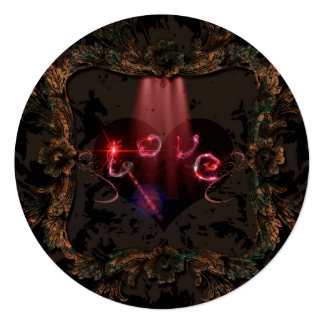 Love, the word with decorative floral elements 13 cm x 13 cm square invitation card