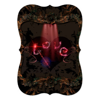 Love, the word with decorative floral elements 13 cm x 18 cm invitation card