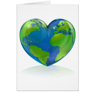 Love the world heart concept greeting cards