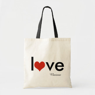 love theme personalized budget tote bag
