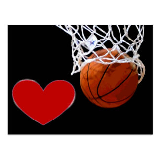 Love This Game Basketball Red Heart Postcards