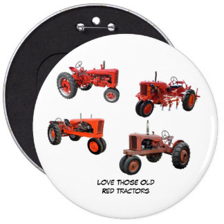 Love Those Old Red Tractors 6 Cm Round Badge