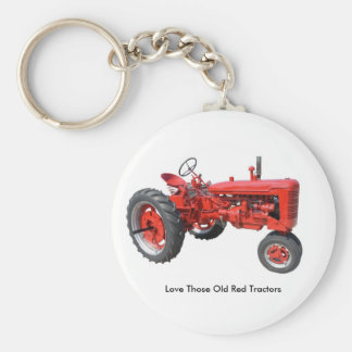 Love Those Old Red Tractors Basic Round Button Key Ring