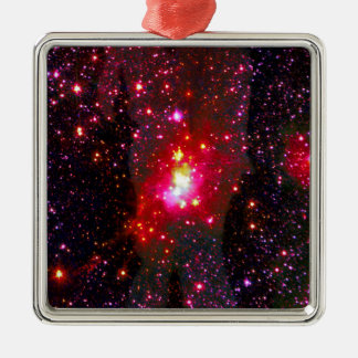 Love Through the Stars. Silver-Colored Square Decoration