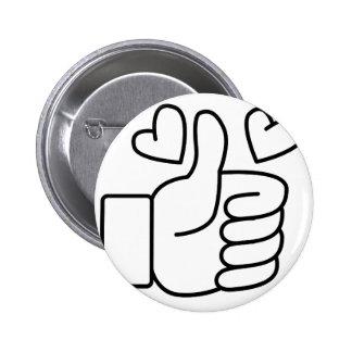 Love Thumbs Up 6 Cm Round Badge