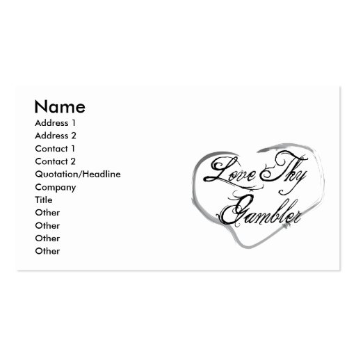 Love Thy Gambler Double-Sided Standard Business Cards (Pack Of 100)