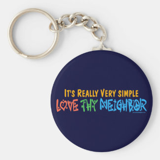 Love Thy Neighbor - Heart, Peace Sign Basic Round Button Key Ring