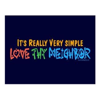 Love Thy Neighbor - Heart, Peace Sign Postcard