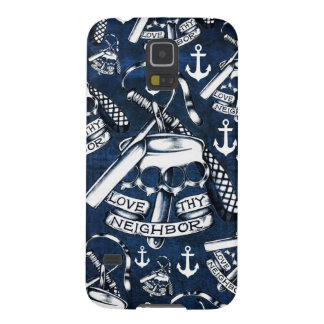 Love thy Neighbors retro Tattoo pattern in navy. Cases For Galaxy S5