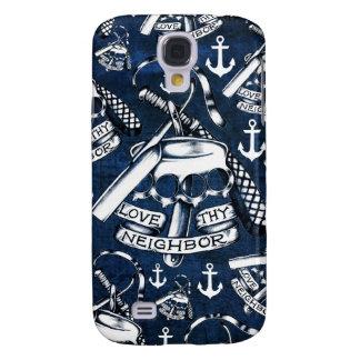 Love thy Neighbors retro Tattoo pattern in navy. Galaxy S4 Case
