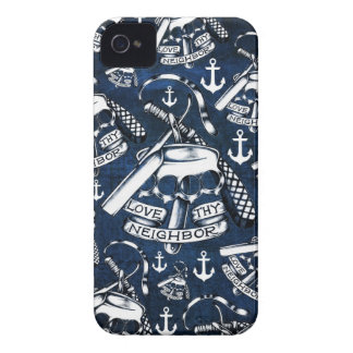 Love thy Neighbors retro Tattoo pattern in navy. iPhone 4 Case-Mate Case
